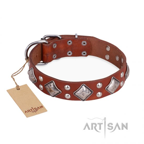 """Magic Squares"" FDT Artisan Tan Leather German Shepherd Collar with Silver-like Decor"