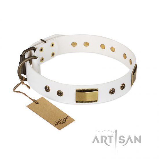 """Precious Necklace"" FDT Artisan White Leather German Shepherd Collar with Old Bronze Look Plates and Studs"