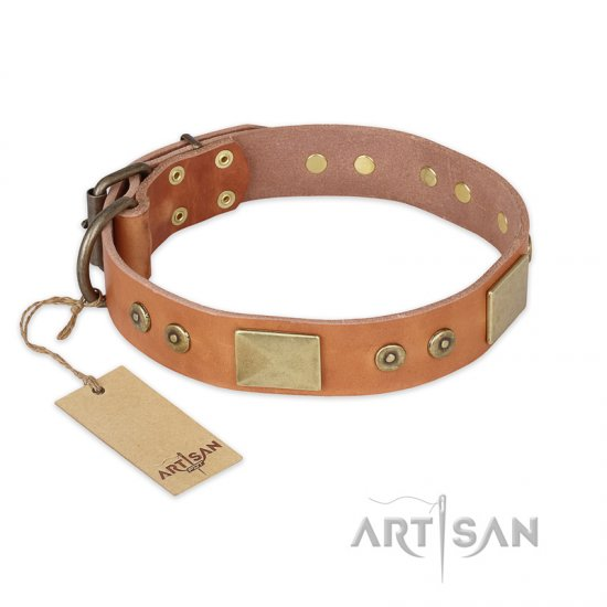 """The Middle Ages"" FDT Artisan Handcrafted Tan Leather German Shepherd Collar"