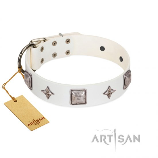 """Vanilla Ice"" FDT Artisan Handmade White Leather German Shepherd Collar with Silver-like Adornments"