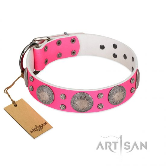 """Silver Star"" Fantastic FDT Artisan Pink Leather German Shepherd Collar with Engraved Studs"