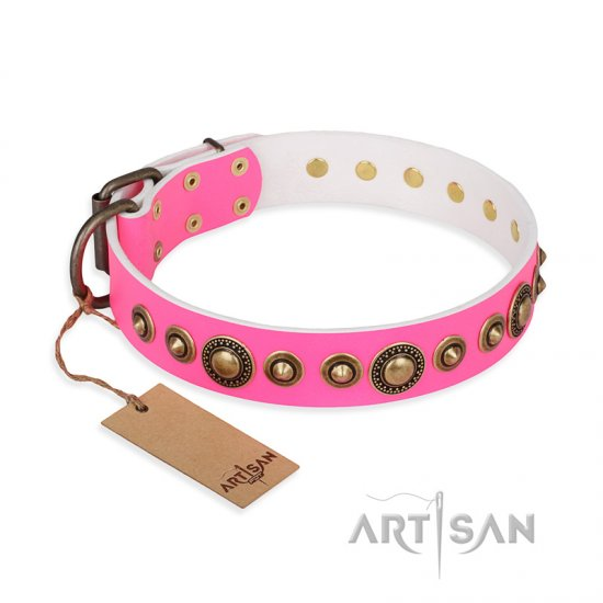 """Pink Gloss"" FDT Artisan Leather German Shepherd Collar with Old-Bronze Plated Circles and Studs"