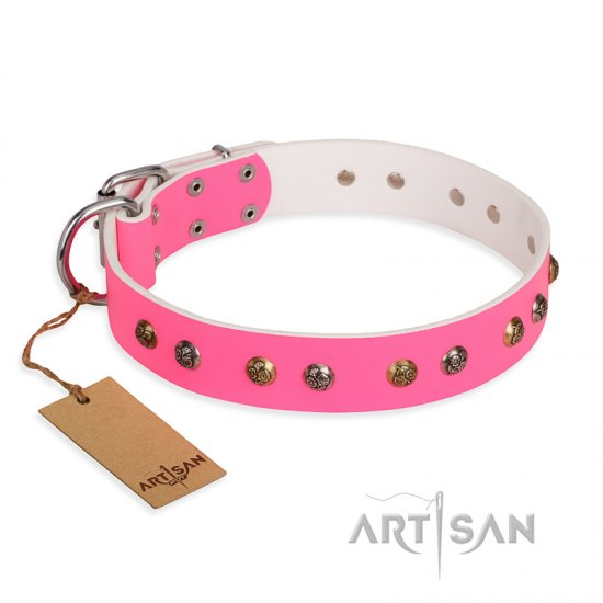 """Sheer love"" Pink Leather FDT Artisan German Shepherd Collar with Old-look Hemisphere Studs"