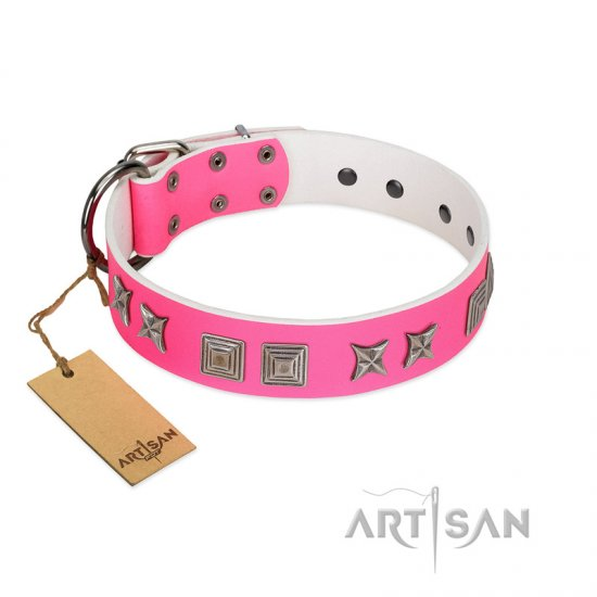 """Pink Wink"" Handcrafted FDT Artisan Pink Leather German Shepherd Collar with Plates and Stars"