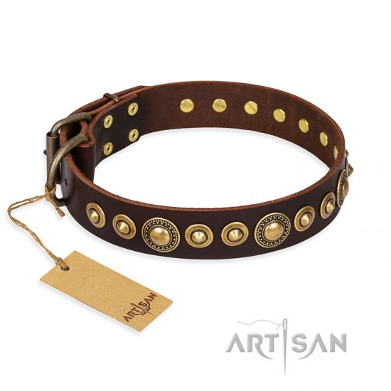 """Ancient Warrior"" FDT Artisan Fancy Leather German Shepherd Collar with Old-Bronze Plated Decorations"