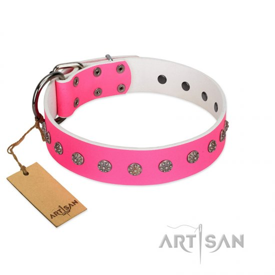 """Pink Blooming"" FDT Artisan Pink Leather German Shepherd Collar with Silver-Like Flowers"