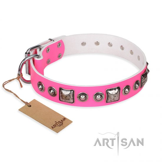 """Pink Dream"" FDT Artisan Leather German Shepherd Collar with Silvery Decorations"