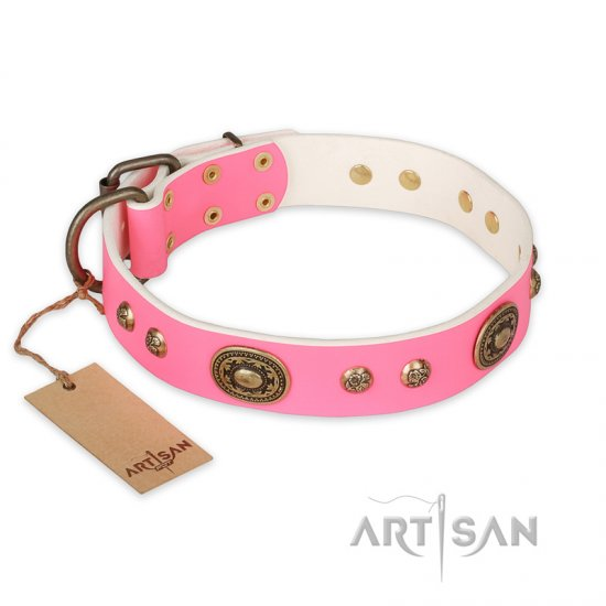 """Sensational Beauty"" FDT Artisan Pink Leather German Shepherd Collar with Old Bronze Look Plates and Studs"