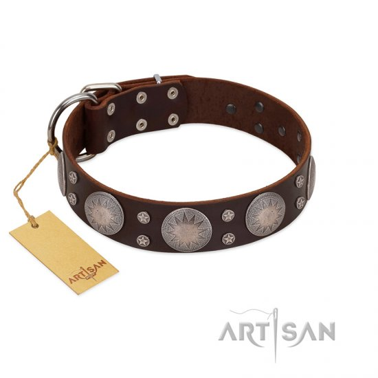 """Imperial Legate"" FDT Artisan Brown Leather German Shepherd Collar with Big Round Plates"