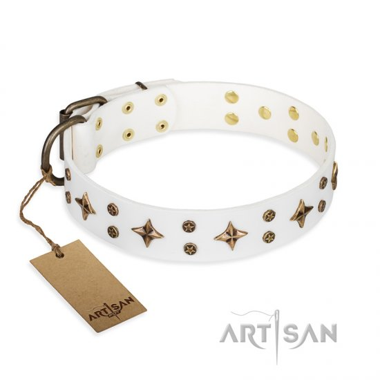 'Bright stars' FDT Artisan White Leather German Shepherd Dog Collar with Old Bronze Look Decorations - 1 1/2 inch (40 mm) wide