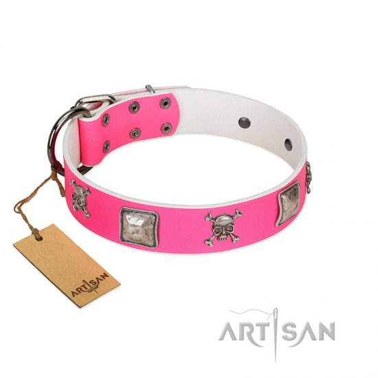 """Rosy Charisma"" Designer Handmade FDT Artisan Pink Leather German Shepherd Collar"