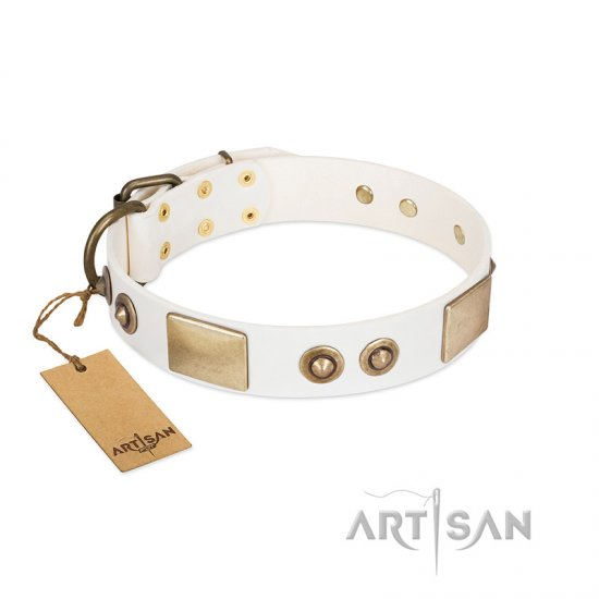 """Noble Impulse"" FDT Artisan White Leather German Shepherd Collar Adorned with Antique Plates and Studs"