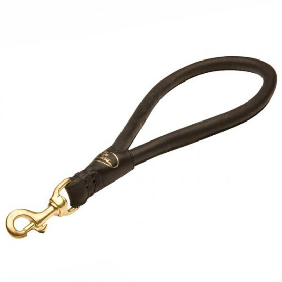Short Leather German Shepherd Pull Tab Leash with Round Handle