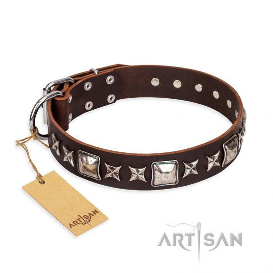 'Perfect Impression' FDT Artisan German Shepherd Brown Leather Dog Collar with Silvery Square Studs - 1 1/2 inch (40 mm) Wide