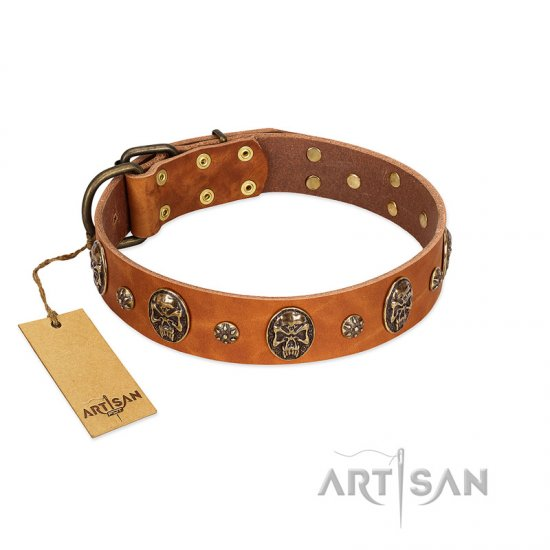 """Rockstar"" FDT Artisan Tan Leather German Shepherd Collar with Engraved Studs and Medallions"