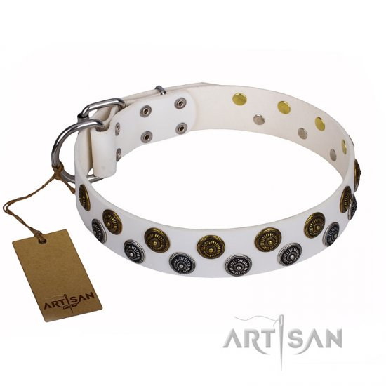 """Snowflake"" FDT Artisan White Leather German Shepherd Collar with Circle Studs"