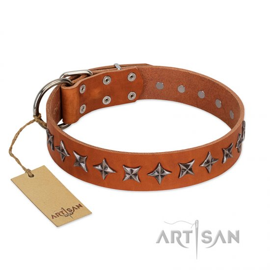 """Star Trek"" FDT Artisan Tan Leather German Shepherd Collar Decorated with Stars"