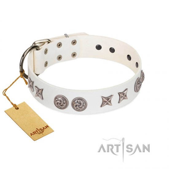 """Galaxy Hunter"" FDT Artisan White Leather German Shepherd Collar with Engraved Brooches and Stars"