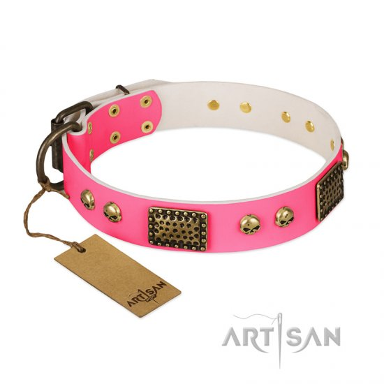 """Vintage and Glamour"" FDT Artisan Pink Leather German Shepherd Collar with Old Bronze Look Plates and Skulls"