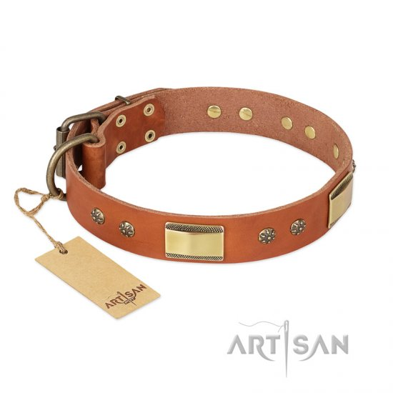 """Enchanting Spectacle"" FDT Artisan Tan Leather German Shepherd Collar with Old Bronze Look Plates and Round Studs"