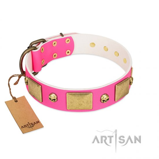 """Glammy Voyage"" FDT Artisan Pink Leather German Shepherd Collar with Stylish Bronze-like Decorations"