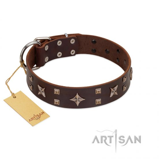 """Stars in Sands"" Modern FDT Artisan Brown Leather German Shepherd Collar with Studs and Stars"