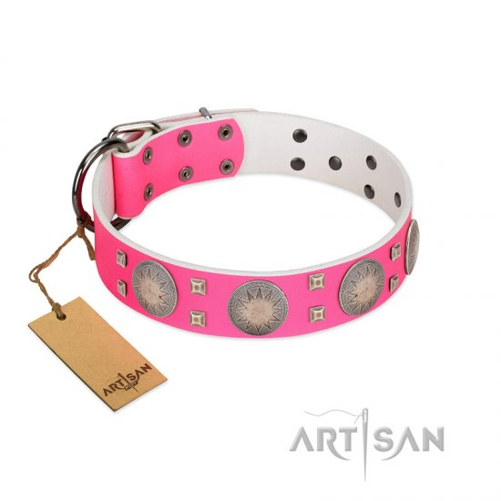 """Sunny Star"" Designer Handmade FDT Artisan Pink Leather German Shepherd Collar"