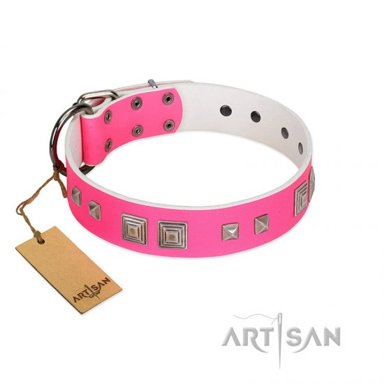 """Rosy Evolution"" Designer Handmade FDT Artisan Pink Leather German Shepherd Collar"