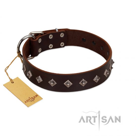 """Boundless Energy"" Premium Quality FDT Artisan Brown Designer Leather German Shepherd Collar with Small Pyramids"