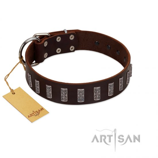 """Brown Lace"" Handmade FDT Artisan Brown Leather German Shepherd Collar for Everyday Walks"