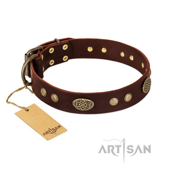 """Old-fashioned Glamor"" FDT Artisan Brown Leather German Shepherd Collar with Old Bronze Look Plates and Circles"