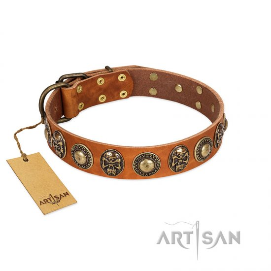 """Golden Epoch"" FDT Artisan Tan Leather German Shepherd Collar with Old Bronze-plated Medallions and Conchos - Click Image to Close"