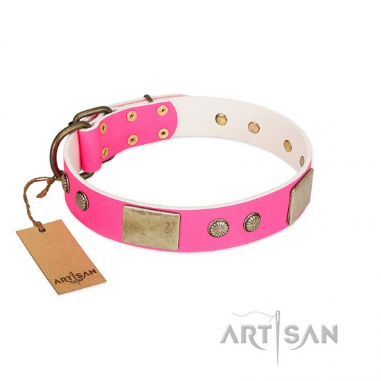 """Flower Parade"" FDT Artisan Pink Leather German Shepherd Collar with Plates and Studs"