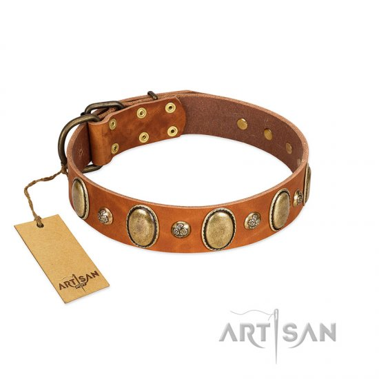 """Venus Breath"" FDT Artisan Tan Leather German Shepherd Collar with Vintage Looking Oval and Round Studs"