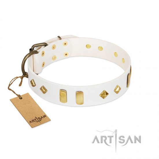 """Hella Cool"" FDT Artisan White Leather German Shepherd Collar Adorned with Plates and Rhombs"