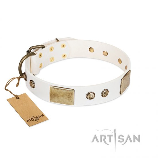"""Pure Elegance "" FDT Artisan White Decorated Leather German Shepherd Collar - 1 1/2 inch (40 mm) wide"