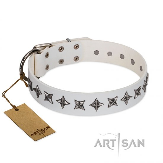 """Midnight Stars"" FDT Artisan Fashionable Leather German Shepherd Collar with Old Silver-like Plated Decorations"