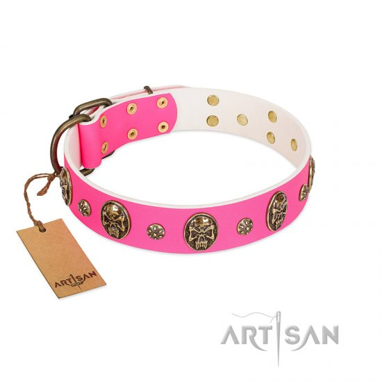 """Fashion Show"" FDT Artisan Pink Leather German Shepherd Collar with Old Bronze-like Skulls and Studs"