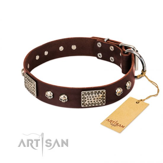"""Pirate Skull"" FDT Artisan Brown Leather German Shepherd Collar with Old Silver Look Plates and Skulls"