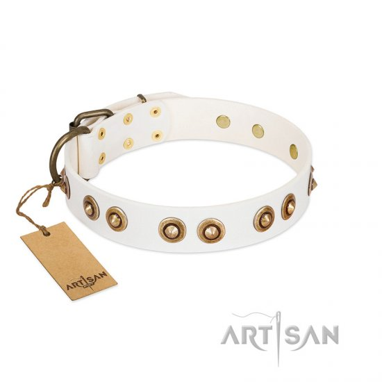 """Moonlit Stroll"" FDT Artisan White Leather German Shepherd Collar with Antique Decorations"
