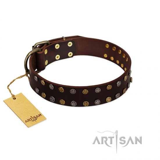 """To the Moon and Back"" FDT Artisan Brown Leather German Shepherd Collar with Bronze-like Star Studs"