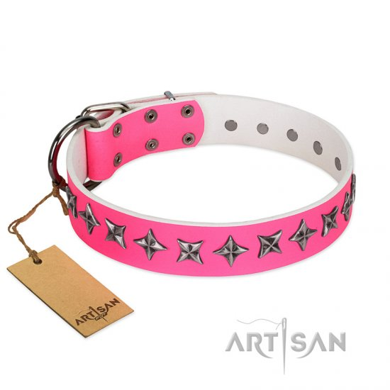 """Star Dreams"" FDT Artisan Pink Leather German Shepherd Collar with Silver-like Stars"