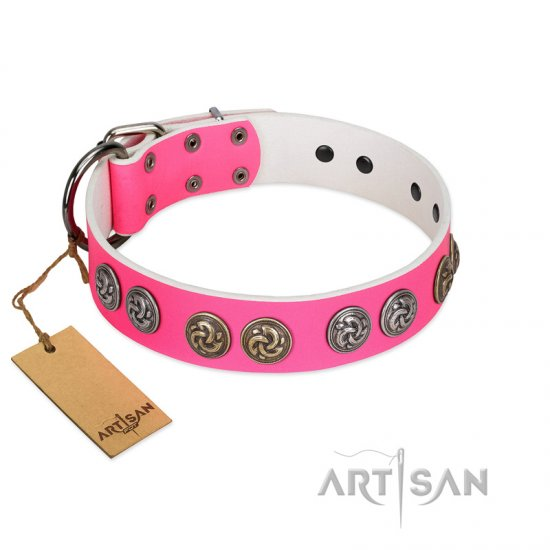 """Pink Butterfly"" Designer FDT Artisan Pink Leather German Shepherd Collar with Round Studs"