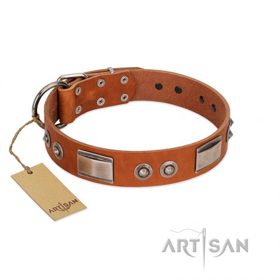 """Pawsy Glossy"" FDT Artisan Exclusive Tan Leather German Shepherd Collar 1 1/2 inch (40 mm) wide"