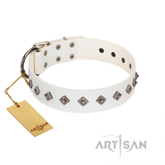 """Snowy Day"" Stylish FDT Artisan White Leather German Shepherd Collar with Small Dotted Pyramids"