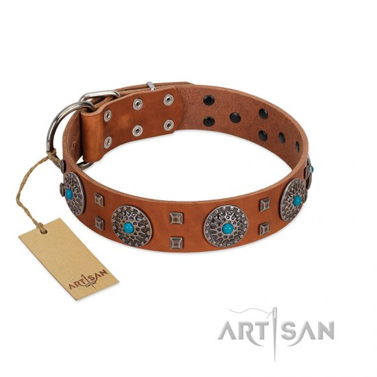 """Blue Sands"" FDT Artisan Tan Leather German Shepherd Collar with Silver-like Studs and Round Conchos with Stones"