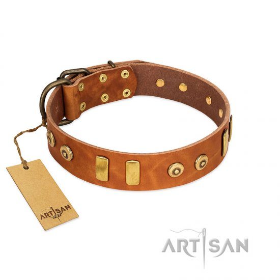 """Egyptian Script"" FDT Artisan Tan Leather German Shepherd Collar with Plates and Small Studs"