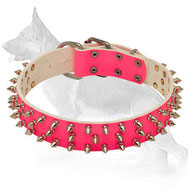 Glamour Pink Leather German Shepherd Collar with Spikes