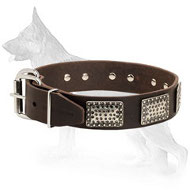 Leather German Shepherd Collar with Massive Nickel Plates