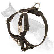 Leather German Shepherd Puppy Harness Decorated with Studs
